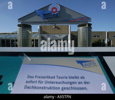 sign announcing tauris swimming pool closed due to danger of roof stock photo 16738809 alamy. Black Bedroom Furniture Sets. Home Design Ideas