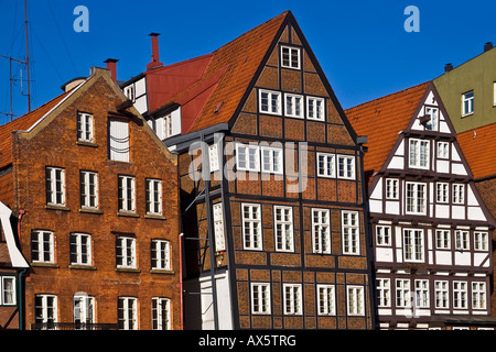 Historic timber-framed houses in Hamburg, Deichstrasse, Nikolaifleet, Altstadt district, Hamburg, Germany, Europe - Stock Photo