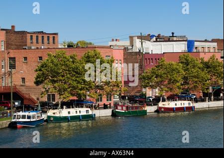 Packet Canal Boats in Seneca Lake Seneca Falls New York Finger Lakes - Stock Photo