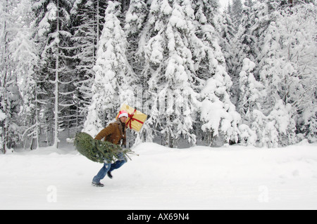 Man in snow, carrying Christmas tree - Stock Photo