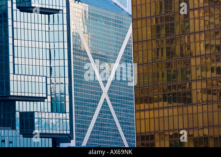 Bank of China and Lippo Centre Building in Admiralty Hong Kong - Stock Photo