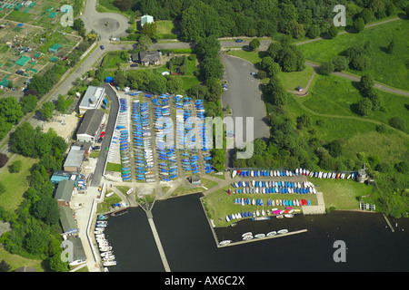 Aerial view of the Wembley Sailing Club on the Welsh Harp Reservoir in North London - Stock Photo