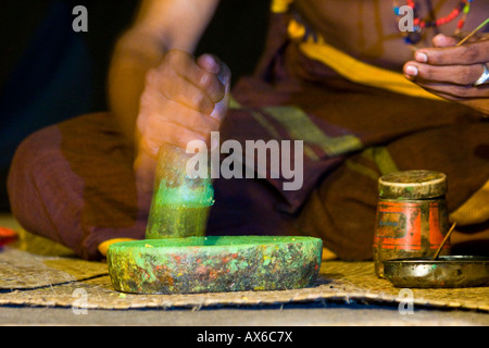 Performer During Application of Makeup for Kathakali Dance Performance in Cochin India - Stock Photo