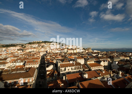 View of Lisbon from the top of Santa Justa Lift - Stock Photo