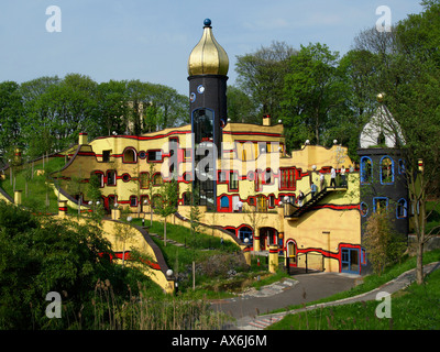 Tourists at multicolored buildings in park, Grugapark, Essen, Germany - Stock Photo