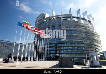 Flags in front of government building, European Parliament, Strasbourg, Alsace, France - Stock Photo