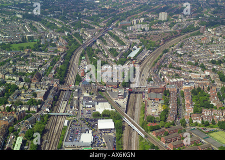 Aerial view of West Hampstead Tube and Mainline Rail Stations in North London - Stock Photo