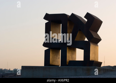 Israel Jerusalem Ahava Love A statue by Robert Indiana made in 1977 - Stock Photo