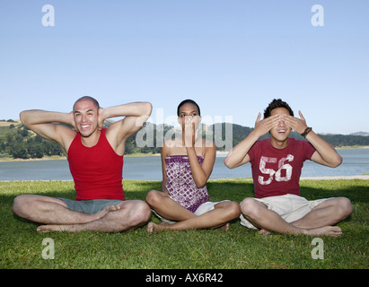 Friends in different poses - Stock Photo