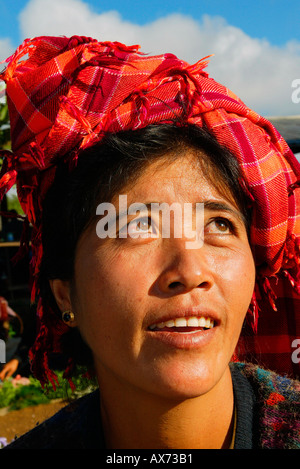Woman at Inle Lake market in Shan state Burma Myanmar - Stock Photo