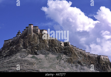 The Dzong (old fort) in Gyantse. Tibet. - Stock Photo