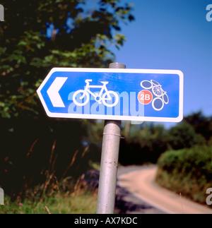 A 2B cycle path sign near Tregaron Ceredigion Wales UK - Stock Photo