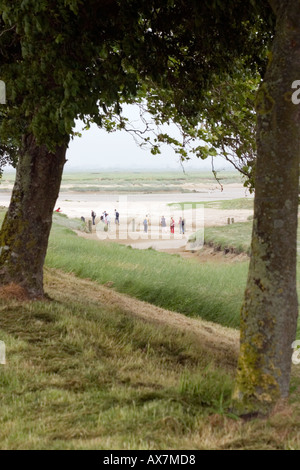 Party of students leaving on field trip on the mud flats of the Somme estuary from St Valery sur Somme - Stock Photo