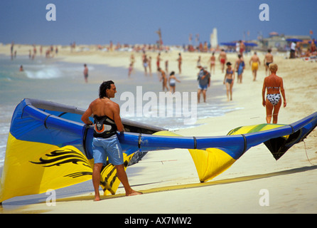 Kite on crowded beach of Santa Maria, Sal, Cape Verde Islands, Africa - Stock Photo