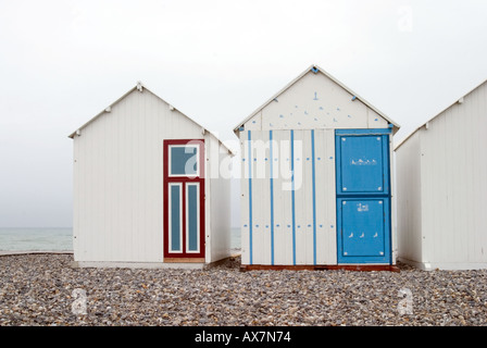 Beach huts on the front at Cayeux sur Mer Somme France - Stock Photo