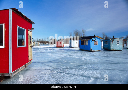 Ice Fishing Cabins Standing On Frozen St Lawrence River