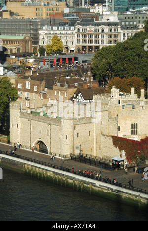 semi aerial City of London skyline includes River Thames and part of the Tower of London with admission payment - Stock Photo