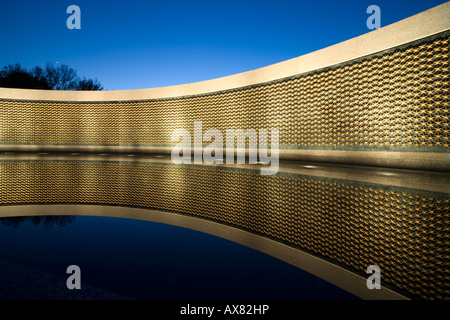 The Freedom Wall at the National World War II Memorial at dusk, Washington D.C. US USA - Stock Photo