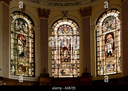 Manchester St Anns church arched stained glass altar windows