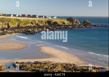 View over Coldingham Bay to St Abbs, Scottish Borders, Scotland - Stock Photo