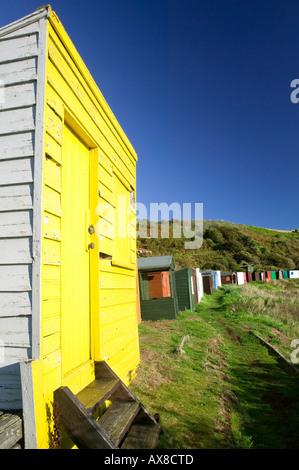 Beach huts at Coldingham Bay, near St Abbs, Scottish Borders, Scotland - Stock Photo