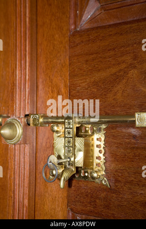 Antique brass door latch and lock typical of traditional Keralite fittings Kerala South India - Stock & Antique Brass Door latch and Lock typical of traditional Keralite ... pezcame.com