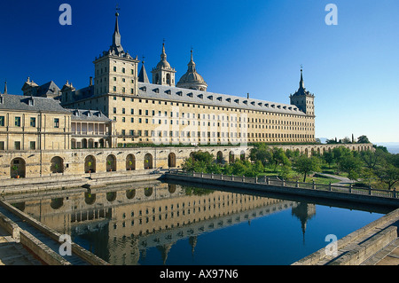 Monastery and royal site, El Escorial, Province of Madrid, Spain - Stock Photo