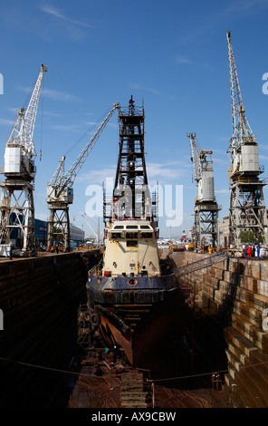 ship being repaired in the robinson dry dock v&a waterfront cape town western cape province south africa - Stock Photo