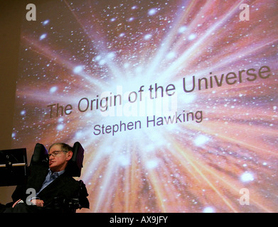 Stephen Hawking during his presentation at the Free University of Berlin, Germany - Stock Photo