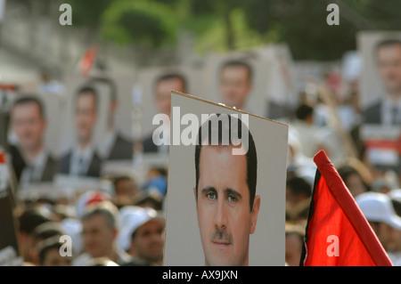 Support for President  Bashar Al Assad Damascus Syria - Stock Photo