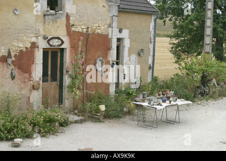 Lock Keepers Cottage Canal du Nivernais - Stock Photo