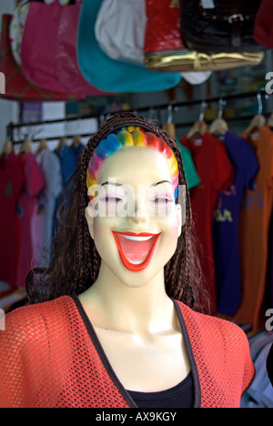 gaudily coloured shop dummy, located at a market in phetchabun , thailand