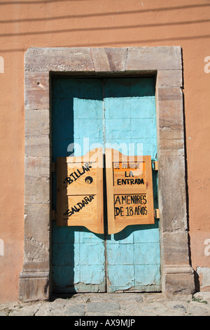 Swinging saloon doors Billiard hall Real de Catorce a former silver mining town now popular with tourists State - Stock Photo