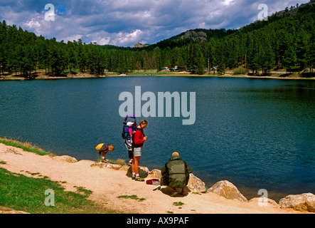 people, mother, father, children, family, fishing, family vacation, Sylvan Lake, Custer State Park, Black Hills, - Stock Photo