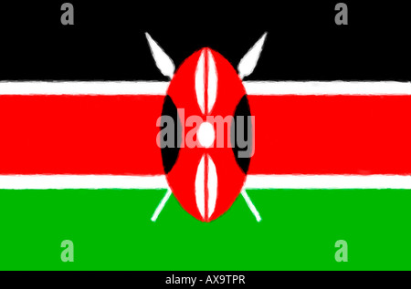 Digitally Painted flag of Kenya - Stock Photo