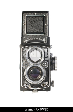 A Rolleiflex 3.5E Planar TLR camera with viewing hood open This is a workhorse camera not a collector s specimen - Stock Photo