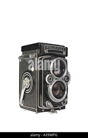 A Rolleiflex 3.5E Planar TLR camera with viewing hood closed This is a workhorse camera not a collectors specimen - Stock Photo
