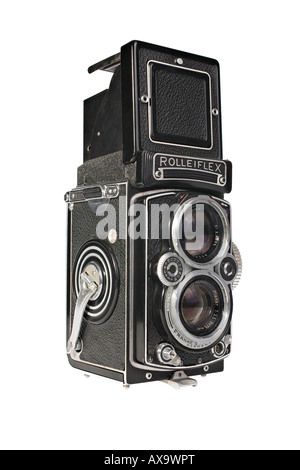 A Rolleiflex 3.5E Planar TLR camera with viewing hood open and magnifier raised - Stock Photo