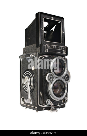 A Rolleiflex 3.5E Planar TLR camera with viewing hood open in sports viewfinder position - Stock Photo