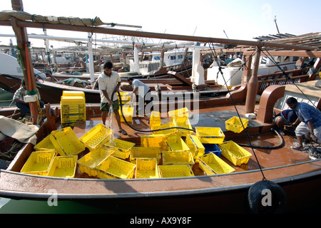 Dhows in the harbour of the Al Khor fishing village in Qatar. - Stock Photo