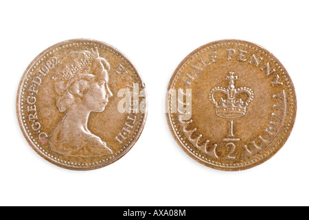 British Half Penny Coin (1982) - Stock Photo
