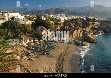 Nerja, Blick vom Balcón de Europa, Costa del Sol, Provinz Malaga, Andalusien, Spanien - Stock Photo