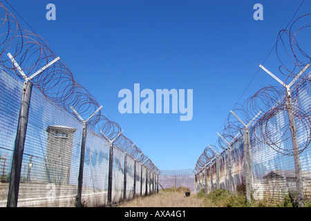 Barbed wire fence on Robben Island, former prison, Cape Town, South Africa, Africa - Stock Photo
