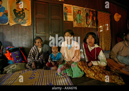 Four generations in one house, Burma, Myanmar - Stock Photo