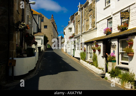 A Street Scene In St Ives a Cornish Seaside Port Town - Stock Photo