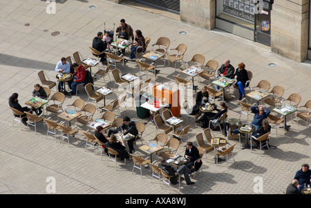 Outdoor cafe in Place de la Liberation in Dijon Burgundy France - Stock Photo
