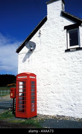 Rural Telephone Box and Royal Mail Box Isle of Mull Scotland - Stock Photo