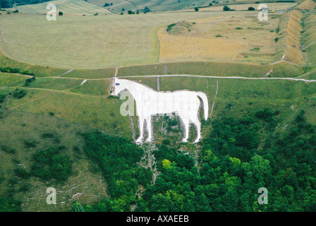 Aerial view of Westbury White Horse hill figure Wiltshire UK - Stock Photo