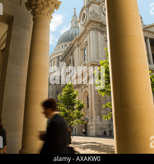 St Pauls leading to Paternoster Square. No model release required: blur, distance so all unrecognizable - Stock Photo