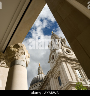 View to St Pauls leading to Paternoster Square - Stock Photo